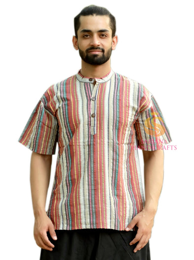 Men 100% Cotton Brown Casual Shirt Short Kurta Indian Loose Fit Ethnic Striped Kurta