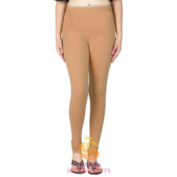 Women Cotton Beige Color Authentic Churidar Leggings Casual Pants