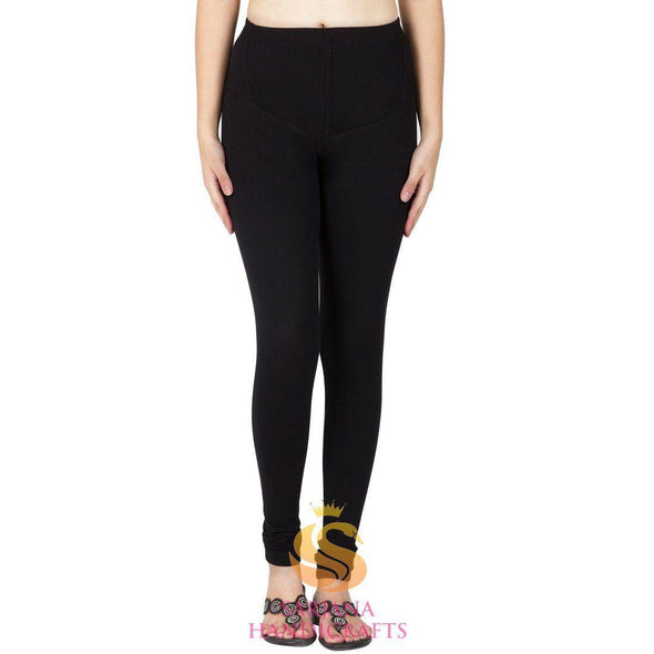 Women Cotton Black Color Authentic Churidar Leggings Casual Pants
