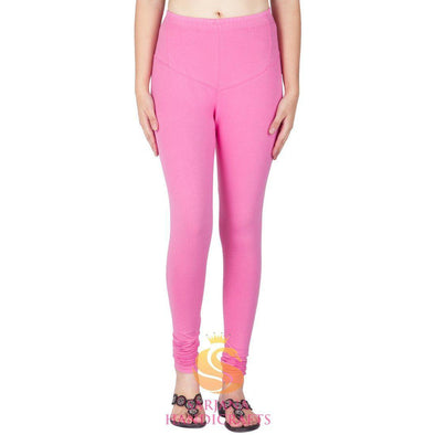 Women Cotton Baby Pink Color Authentic Churidar Leggings Casual Pants