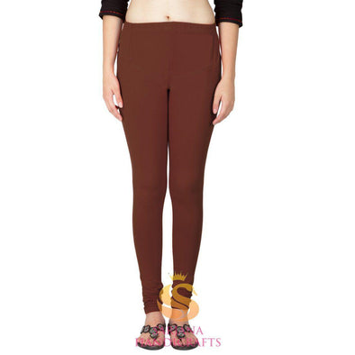 Women Cotton Brown Color Authentic Churidar Leggings Casual Pants