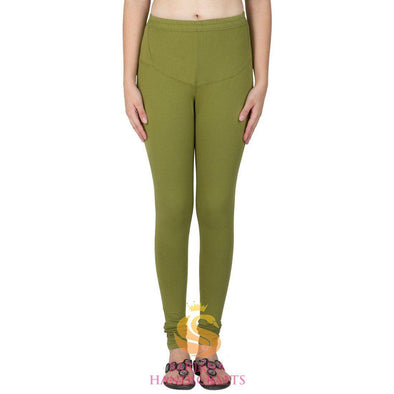 Women Cotton Chutni Green Color Authentic Churidar Leggings Casual Pants