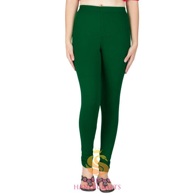Women Cotton Dark Green Color Authentic Churidar Leggings Casual Pants