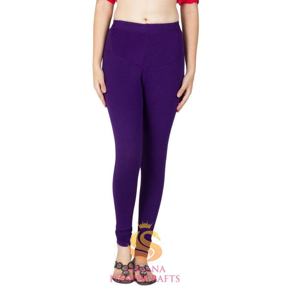 Women Cotton Deep Purple Color Authentic Churidar Leggings Casual Pants