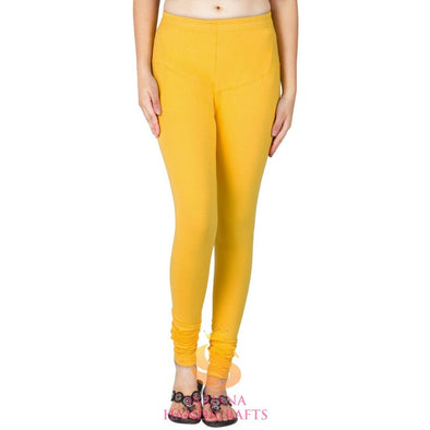 Women Cotton Deep Yellow Color Authentic Churidar Leggings Casual Pants