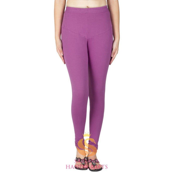 Women Cotton Lilac Color Authentic Churidar Leggings Casual Pants