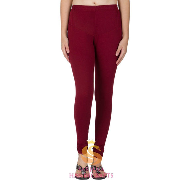 Women Cotton Maroon Color Authentic Churidar Leggings Casual Pants