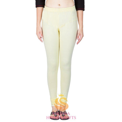 Women Cotton Off White Color Authentic Churidar Leggings Casual Pants