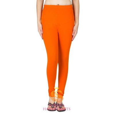 Women Cotton Orange Color Authentic Churidar Leggings Casual Pants