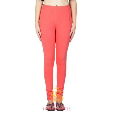 Women Cotton Peach Color Authentic Churidar Leggings Casual Pants