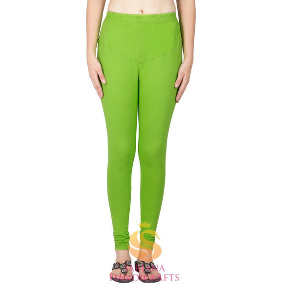 Women Cotton Parrot Green Color Authentic Churidar Leggings Casual Pants