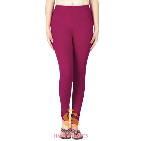 Women Cotton Wine Color Authentic Churidar Leggings Casual Pants