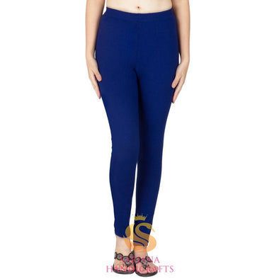 Women Cotton Royal Blue Color Authentic Churidar Leggings Casual Pants