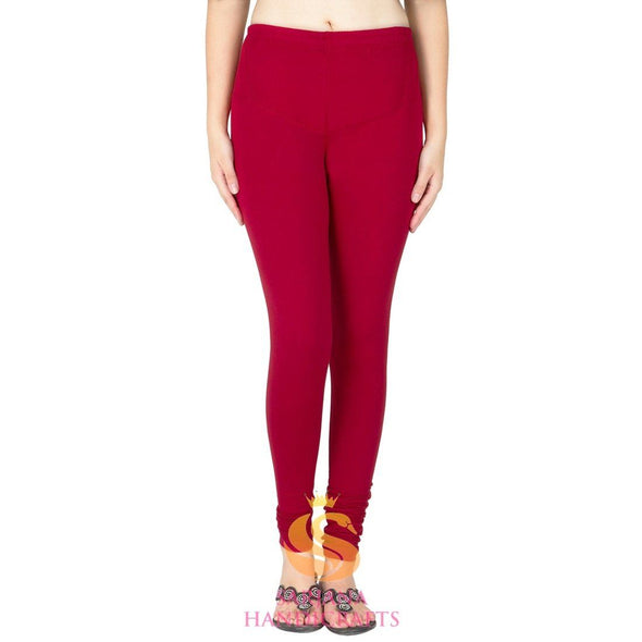 Women Cotton Red Color Authentic Churidar Leggings Casual Pants