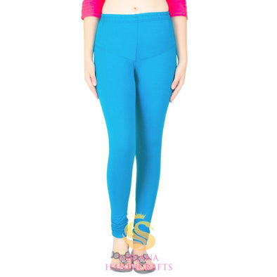Women Cotton Sky Blue Color Authentic Churidar Leggings Casual Pants