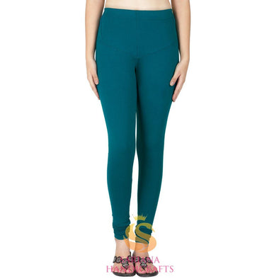 Women Cotton Teal Color Authentic Churidar Leggings Casual Pants