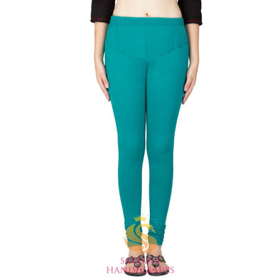 Women Cotton Turquoise Color Authentic Churidar Leggings Casual Pants