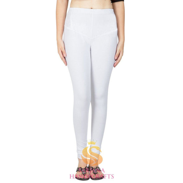 Women Cotton White Color Authentic Churidar Leggings Casual Pants