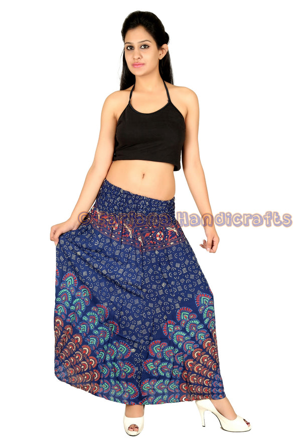 Women Skirt Rayon Mandala Printed Stretch Waist Casual Summer Skirt