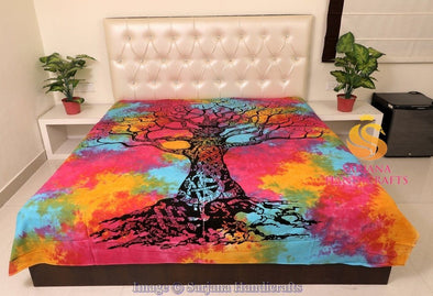 Queen Size Cotton Flat Bed Sheet Tree Tye Dyed Double Bedspread Bedding Dorm Throw