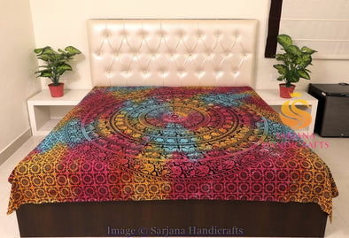 Queen Size Cotton Flat Bed Sheet Elephants Floral Mandala Printed Double Bedspread Bedding Dorm Throw