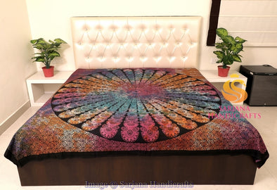 Queen Size Cotton Flat Bed Sheet Psychedelic Tie Dyed Double Bedspread Bedding Dorm Throw
