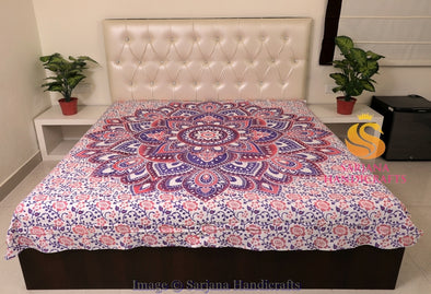 Queen Size Cotton Flat Bed Sheet Floral Printed Double Bedspread Bedding Dorm Throw