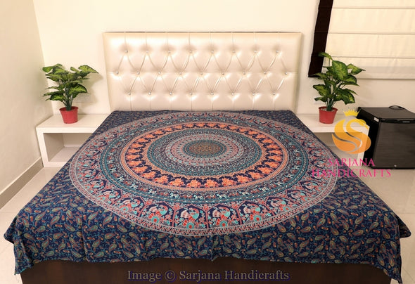 Queen Size Cotton Flat Bed Sheet Floral Mandala Double Bedspread Bedding Dorm Throw