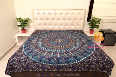 Queen Size Cotton Flat Bed Sheet Floral Mandala Circle Printed Double Bedspread Bedding Dorm Throw
