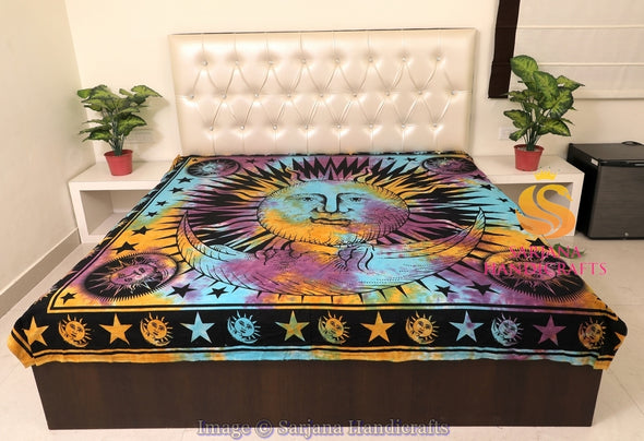 Queen Size Cotton Flat Bed Sheet Sun Moon Tie Dyed Double Bedspread Bedding Dorm Throw