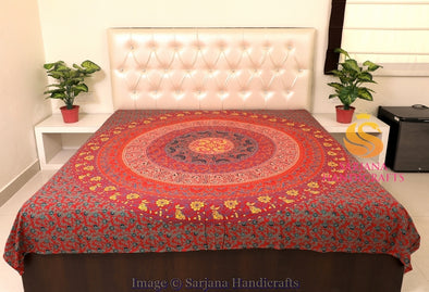 Queen Size Cotton Flat Bed Sheet Red Floral Mandala Printed Double Bedspread Bedding Dorm Throw