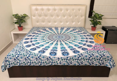 Queen Size Cotton Flat Bed Sheet Mandala Aqua Printed Double Bedspread Bedding Dorm Throw