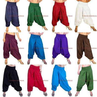 Womens Cotton Solid Harem Pants Yoga Trouser Genie Hippie Drop Crotch Pants