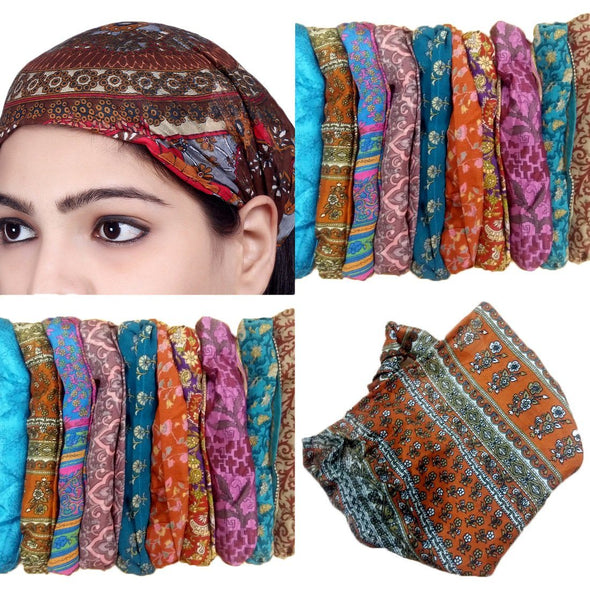 Lot 10 Pieces Women Printed Silk Headband Wide Hairband Men Wrap Yoga Bandana