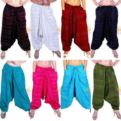 Womens Cotton Striped Harem Pants Yoga Trouser Harem Baggy Hippie Genie Unisex Pants