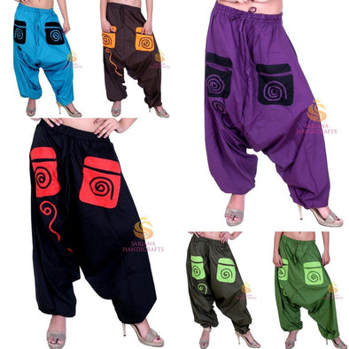 Womens Cotton Solid Pockets Harem Pants Yoga Trouser Hippie Genie Unisex Pants