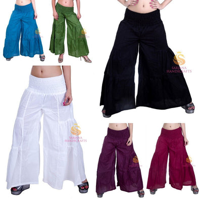 Womens Cotton Solid Palazzo Pants Yoga Trouser Harem Baggy Wide Leg Pants