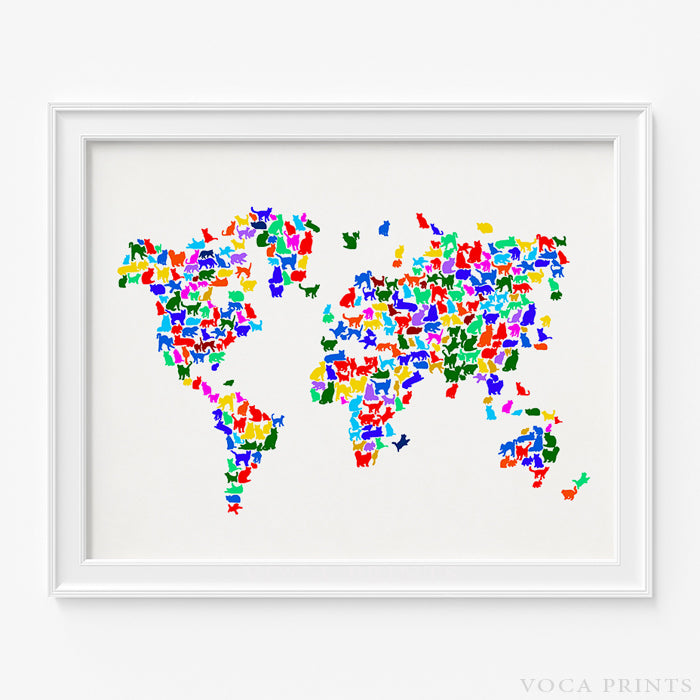 Cat world map print wall poster voca prints voca prints cat world map print type 2 voca prints gumiabroncs Image collections