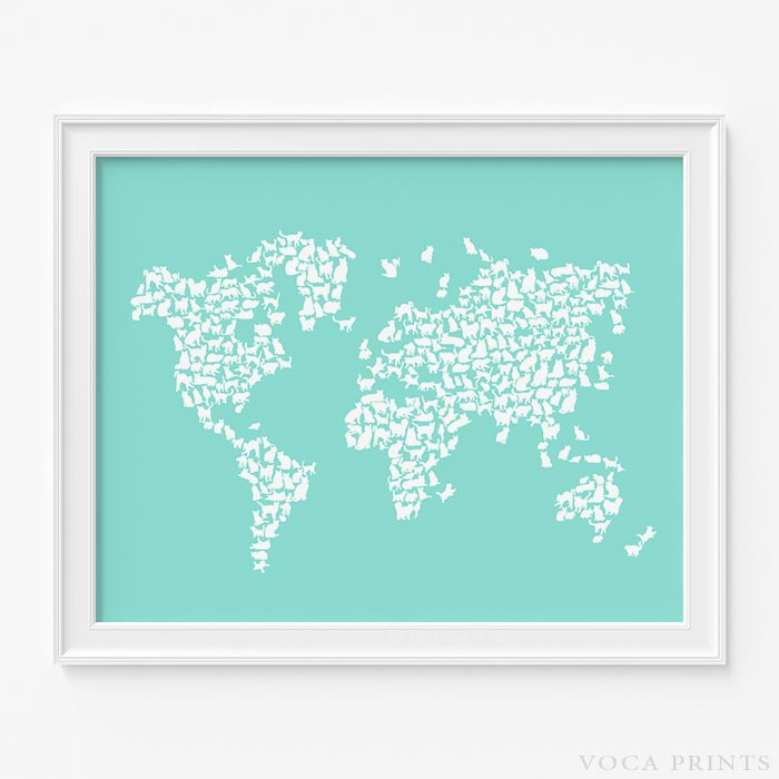 Cat world map print wall poster voca prints voca prints cat world map print with background voca prints gumiabroncs Image collections
