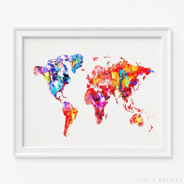 All us world map voca prints watercolor world map print type 2 wall art poster by voca prints gumiabroncs Images