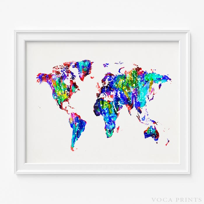 World Map Watermark.Watercolor World Map Print Wall Poster Voca Prints Voca Prints