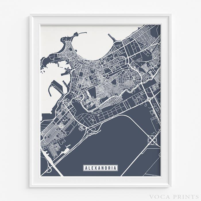 Alexandria egypt street map print wall poster voca prints alexandria egypt street map print voca prints gumiabroncs Image collections