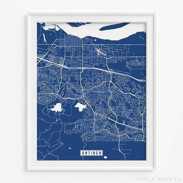 ANTIOCH CALIFORNIA STREET MAP PRINT Wall Poster Voca Prints