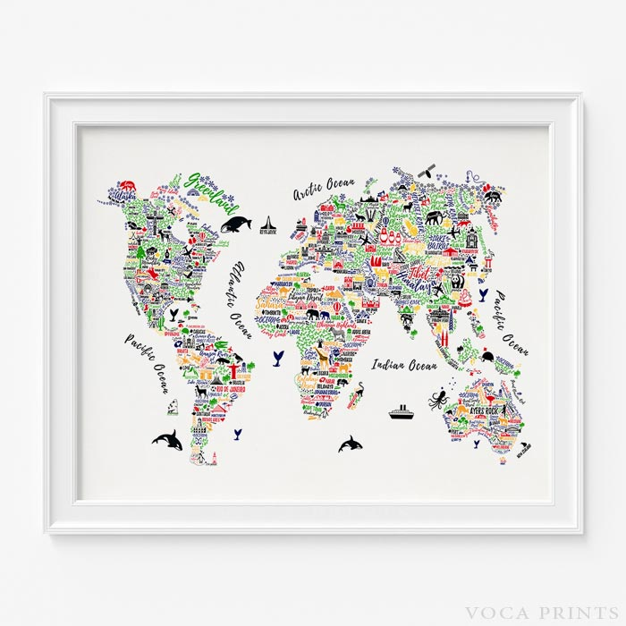 Typography world map print wall poster voca prints voca prints typography world map wall art poster by voca prints gumiabroncs Image collections