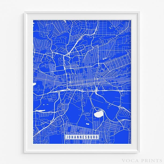 JOHANNESBURG SOUTH AFRICA STREET MAP PRINT Wall Poster Voca