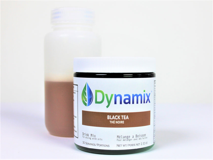 Dynamix drink mix for cannabis oil (cbd and thc) and essential oil consumption; black tea beverage