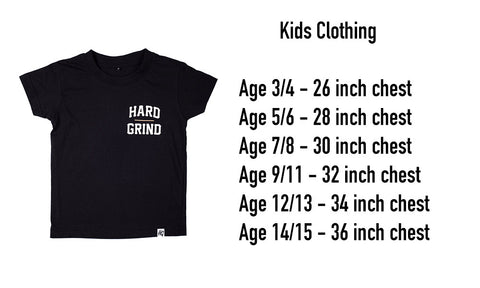 Hard Grind Kids Size Guide