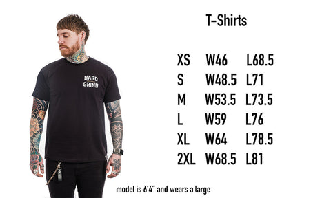 Hard Grind T-Shirts Size Guide