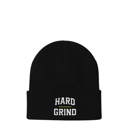 Stacked Black Beanie | Hard Grind