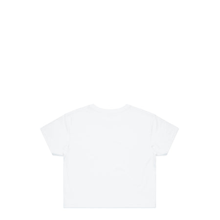 Italic Chest White Crop T-Shirt | Hard Grind